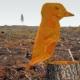 """Exploring new worlds #7 - figur från målningen """"Den allra sista hackspetten"""".. Bakgrunden från ettt foto av  Malin Sahlin, Naturskyddsföreningen."""
